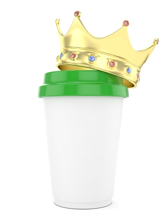 Coffee cup with  golden crown on white background. Concept of luxury royal coffee. 3D rendering. Stock Photo