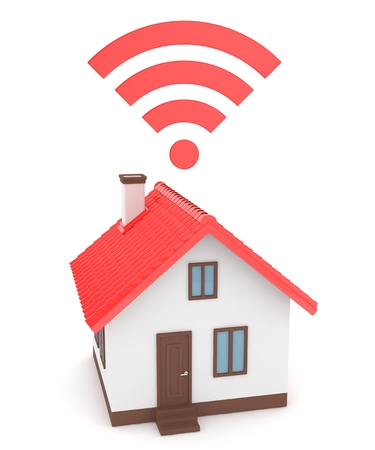 wireless signal: Wifi house on white background. Wireless technology. Internet, phone and radio signal. Network. 3D rendering Stock Photo