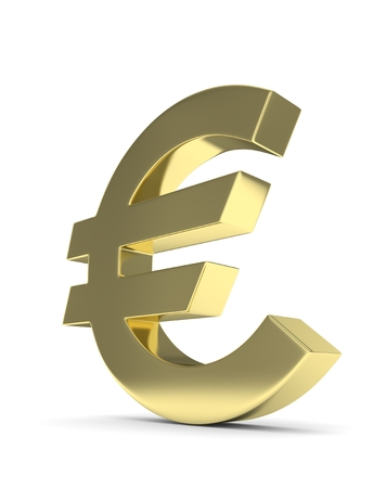 Isolated golden euro sign on white background. European currency. Concept of investment, european market, savings. Power, luxury and wealth. 3D rendering. Stock Photo