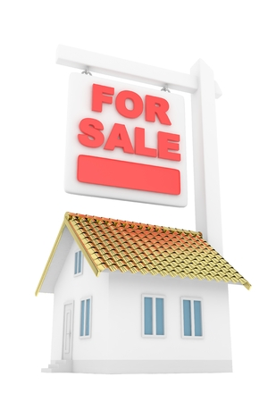 good investment: Isolated model of house with for sale sign on white background. Good investment in real estate. Buy new apartment. 3D rendering.