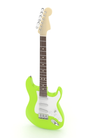 indie: Isolated green electric guitar on white background.  Musical instrument for rock, blues, metal songs. 3D rendering. Stock Photo