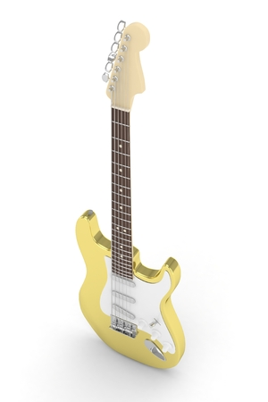 blues: Isolated golden electric guitar on white background.  Musical instrument for rock, blues, metal songs. 3D rendering.