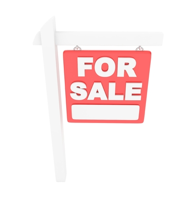 sale sign: For sale sign on white background. Real estate sale. 3D rendering.