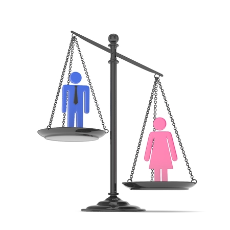 Isolated old fashioned pan scale with man and woman on white background. Gender inequality. Female is heavier. Law issues. Colorful model. 3D rendering. Banque d'images