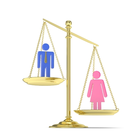 Isolated old fashioned pan scale with man and woman on white background. Gender inequality. Female is heavier. Law issues. Colorful model. 3D rendering. Stock Photo