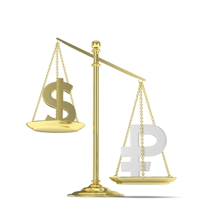 Isolated old fashioned pan scale with dollar and ruble on white background. American and russian currency. Ruble is heavier. Silver rouble, golden usd. 3D rendering. Stock Photo