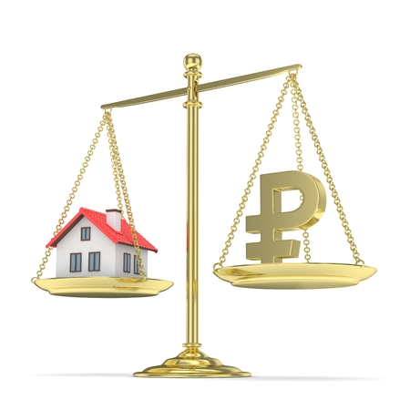 vs: Isolated old fashioned pan scale with ruble and house on white background. Real estate vs russian currency. Affordable house. 3D rendering. Stock Photo