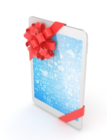 White tablet with red bow and blue screen. 3D rendering.