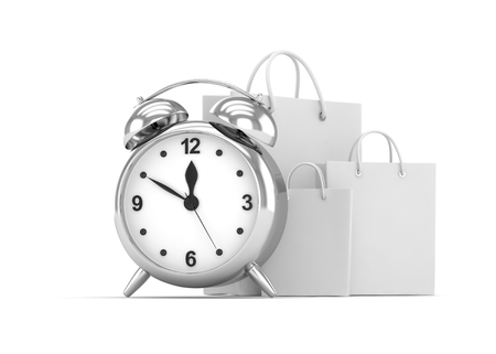 buy time: alarm clock and shopping bag (time to buy concept). 3d rendering. Stock Photo