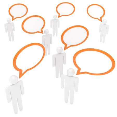 dialog balloon: people with talk bubbles isolated over a white background. 3d rendering. Stock Photo