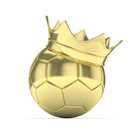 Golden soccer ball with golden crown on white background. 3D rendering.