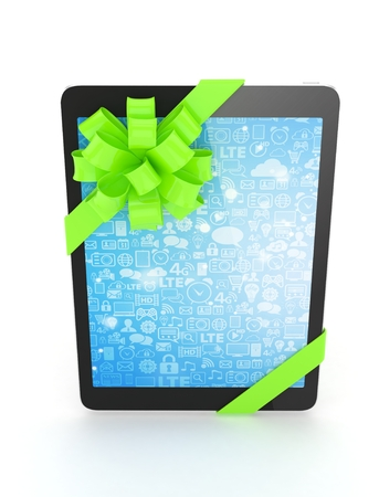green bow: Black tablet with green bow and blue screen. 3D rendering. Stock Photo