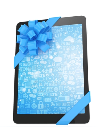 blue screen: Black tablet with blue bow and blue screen. 3D rendering.