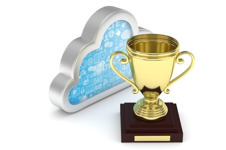 contest: Isoalted golden cup with cloud on white background. Silver contour cloud. Concept of cloud storage competition. Leader cloud drive. Best storage contest. 3D rendering. Stock Photo