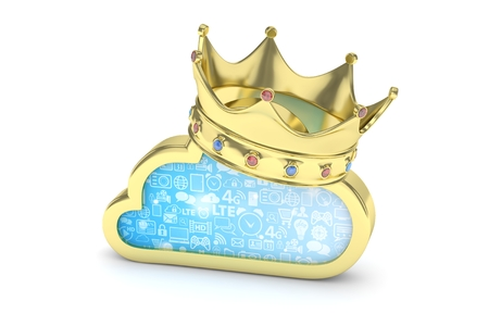 broadband: Isolated golden cloud icon with crown and gems on white background. Symbol of communication, network and technology. Broadband. Online database. 3D rendering.