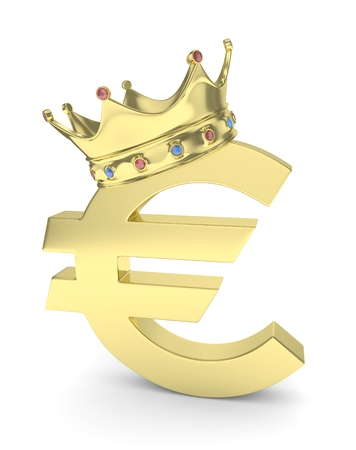 Isolated golden euro sign with golden crown and gems on white background. Concept of making profit, income. Currency sign. European money. 3D rendering. Stock Photo