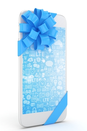 blue bow: White phone with blue bow and blue screen. 3D rendering.