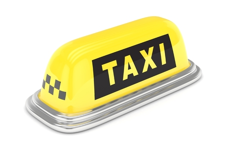 fare: Taxi roof sign. Yellow and black roof sign. Concept of taxi, tourism, city transportation. 3D rendering.