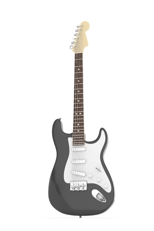 Isolated black electric guitar on white background.  Musical instrument for rock, blues, metal songs. 3D rendering. Stock Photo
