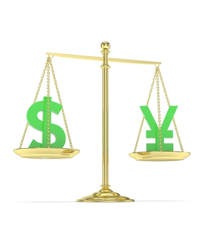Isolated old fashioned pan scale with dollar and yuan,yen on white background. American and chinese and japanese currency. Currency equality. Green money. 3D rendering. Stock Photo