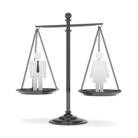 Isolated old fashioned pan scale with man and woman on white background. Gender inequality. Equality of sexes. Law issues. Silver model. 3D rendering.