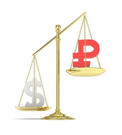 heavier: Isolated old fashioned pan scale with dollar and ruble on white background. American and russian currency. Dollar is heavier. Silver usd, red rouble. 3D rendering.