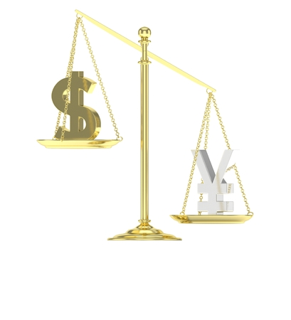 Isolated old fashioned pan scale with dollar and yuan,yen on white background. American and chinese and japanese currency. Yuan is heavier. Silver yuan, golden usd. 3D rendering.