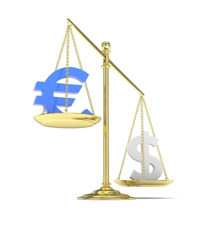 stability: Isolated old fashioned pan scale with dollar and euro on white background. American and european currency. Dollar is heavier. Silver usd, blue euro. 3D rendering.