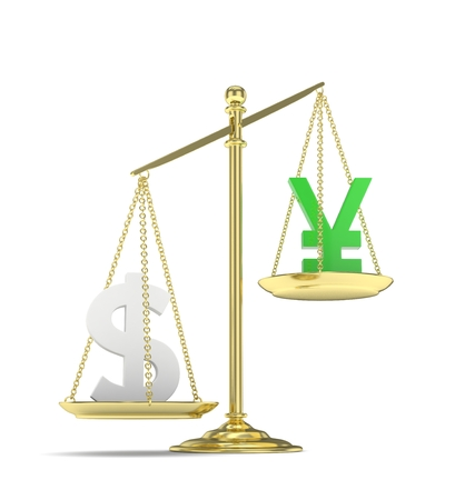 Isolated old fashioned pan scale with dollar and yuan,yen on white background. American and chinese and japanese currency. Dollar is heavier. Silver usd, green yuan. 3D rendering.