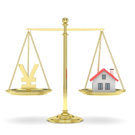 Isolated golden scales with golden yuan and house on white background. Investment or savings concept. Real estate and currency. 3D rendering.
