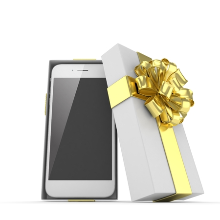 Smartphone in gift box. Isolated on white background. 3d rendering. Stock Photo