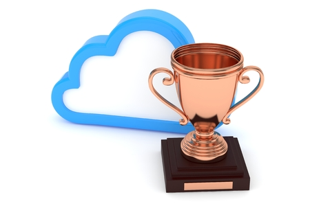 contest: Isoalted bronze cup with cloud on white background. Blue contour cloud. Concept of cloud storage competition. Leader cloud drive. Best storage contest. 3D rendering. Stock Photo