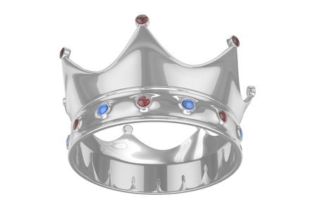 Silver royal crown with blue and red gems on white. 3D rendering.
