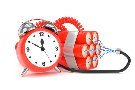 Alarm clock with dynamite. Dangerous weapon. Red alarm clock with bundle of dynamiye sticks. Concept of deadline, violence, lack of patience. 3D rendering.