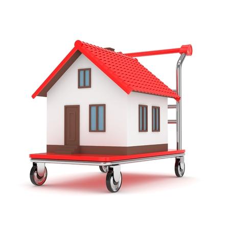 Model of house on wheeled platform on white background. Concept of property moving, delivering. 3D rendering.