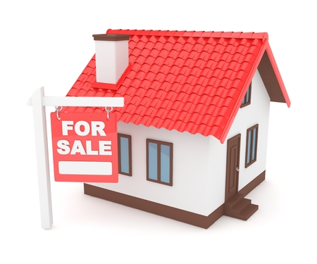 Miniature model of house real estate for sale on white background. 3D rendering.