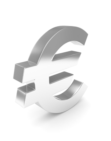 currency symbols: Isolated silver euro sign on white background. European currency. Concept of investment, european market, savings. Power, luxury and wealth. 3D rendering.