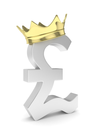 Isolated silver pound sign with golden crown on white background. British currency. Concept of investment, european market, savings. Power, luxury and wealth. Great Britain, Nothern Ireland. 3D rendering.