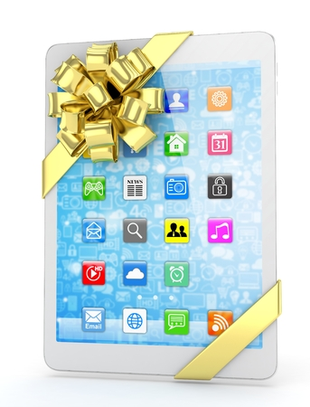 White tablet with golden bow and icons. 3D rendering.