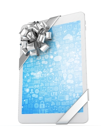 White tablet with silver bow. 3D rendering. Stock Photo