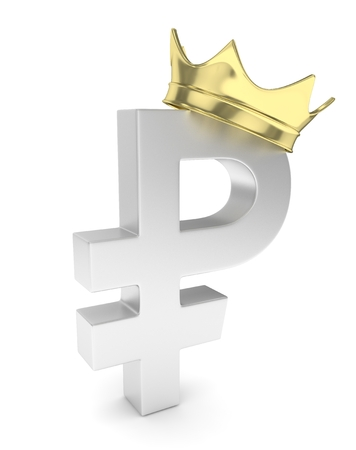 Isolated ruble sign with golden crown on white background. Concept of making profit, income. Currency sign. Russian money. 3D rendering.