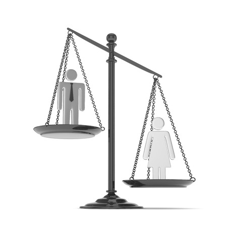 Isolated old fashioned pan scale with man and woman on white background. Gender inequality. Female is heavier. Law issues. Silver model. 3D rendering. Stock Photo