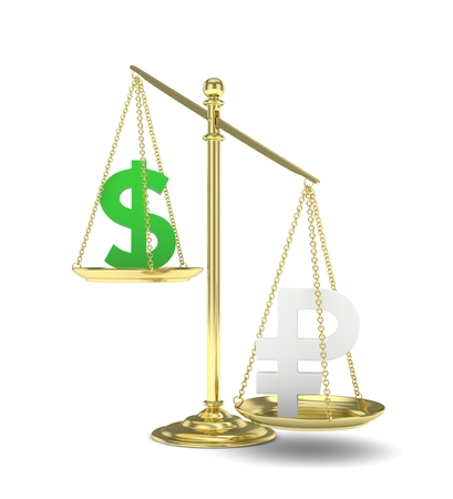 Isolated old fashioned pan scale with dollar and ruble on white background. American and russian currency. Ruble is heavier. Silver rouble, green usd. 3D rendering. Stock Photo
