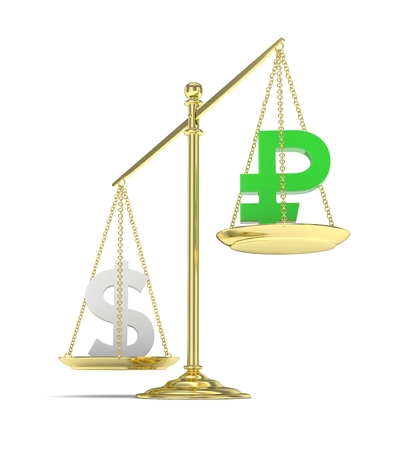heavier: Isolated old fashioned pan scale with dollar and ruble on white background. American and russian currency. Dollar is heavier. Silver usd, green rouble. 3D rendering. Stock Photo