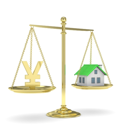 mortgage rates: Isolated golden scales with golden yuan and house on white background. Investment or savings concept. Real estate and currency. 3D rendering.