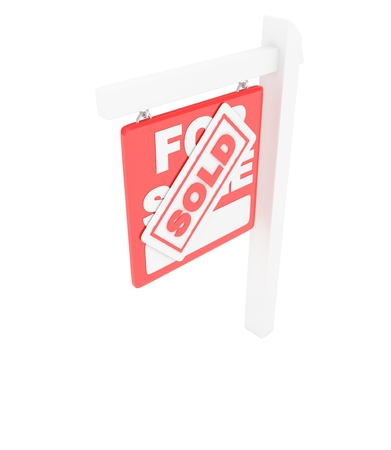 real estate sold: For sale sold  red icon real estate on white background. 3D rendering.