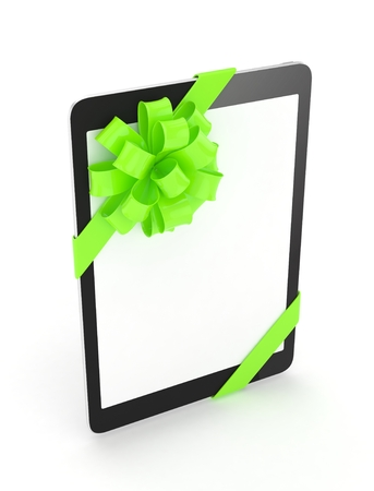green bow: Black tablet with green bow and empty screen. 3D rendering.