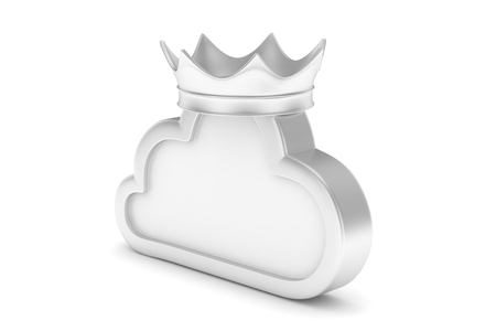 broadband: Isolated chrome cloud icon with crown on white background. Symbol of communication, network and technology. Broadband. Online database. 3D rendering.