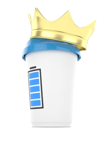 energize: Coffee cup with  golden crown and battery on white background. Concept of luxury royal coffee. 3D rendering.
