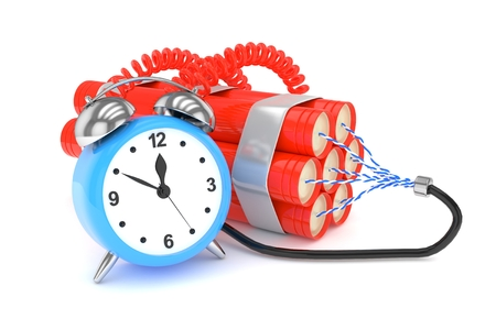 fire wire: Alarm clock with dynamite. Dangerous weapon. Blue alarm clock with bundle of dynamiye sticks. Concept of deadline, violence, lack of patience. 3D rendering.